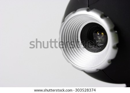 Close-up picture of a web camera. - stock photo
