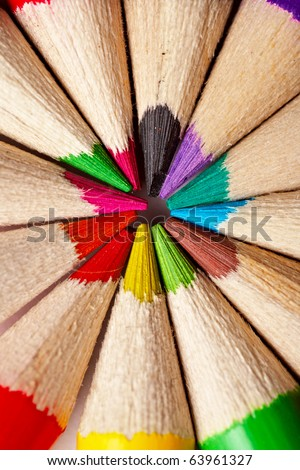close-up picture of multicolor pencils - stock photo