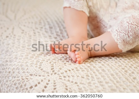Close up picture of new born baby feet - stock photo