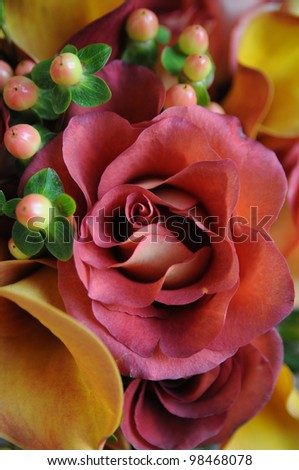 Close up picture of wedding bouquet - stock photo