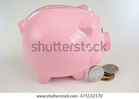 Close Up Piggy bank with USA coin
