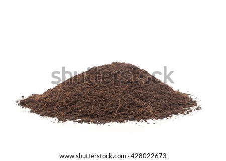 Close up pile of soil isolated on white background