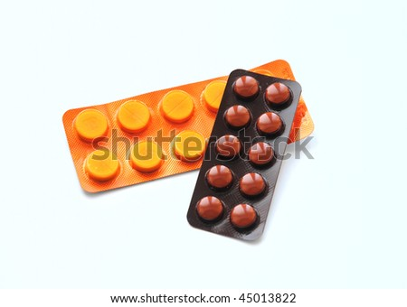 close up pills, isolated on white background - stock photo