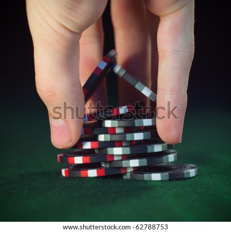 "Close up poker chips trick ""shuffle"" (soft focus)"