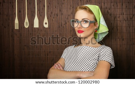 Close-up portait of a rural woman cook - stock photo