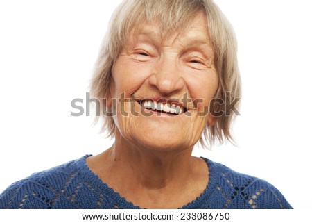 Close up portrait happy old woman, isolated on white - stock photo