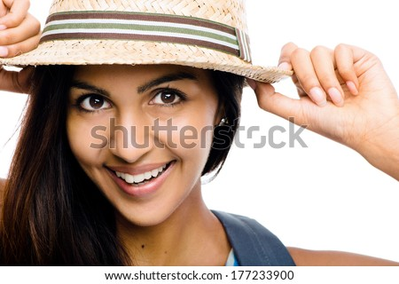 Close-up portrait hipster Indian woman white background