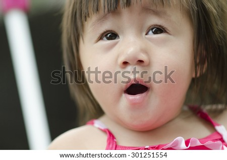 Close up portrait  little girl - stock photo