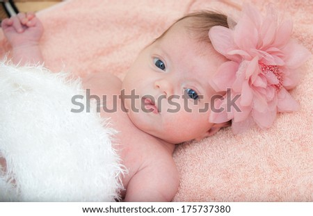 Close up portrait newborn baby - stock photo