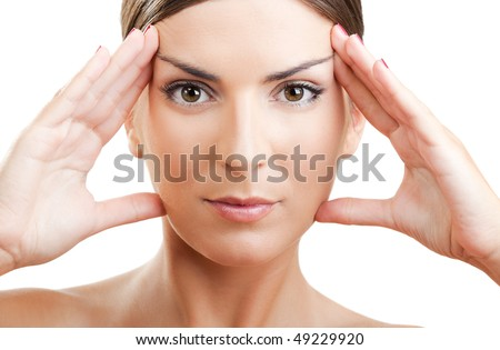 Close-up portrait of a beautiful and fresh woman stretching the face - stock photo