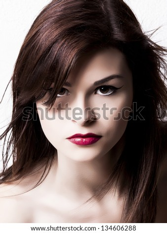 Close-up portrait of a beautiful and young fashion woman