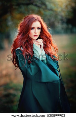 Close Portrait Beautiful Red Haired Girl Stock Photo