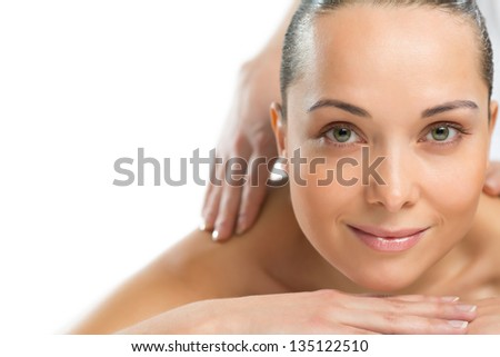 close-up portrait of a beautiful spa woman, concept of female beauty - stock photo