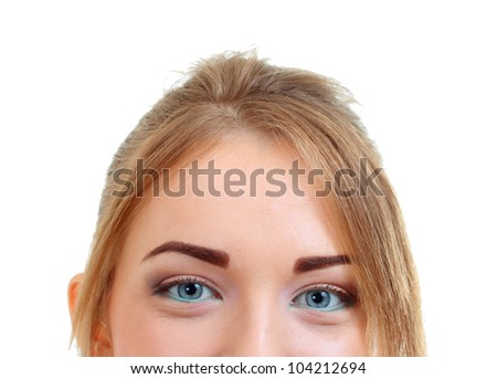 Close-up portrait of a beautiful woman. Looking up into the camera. Lots of copyspace and room for text on this isolate.