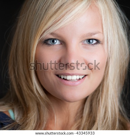 close-up portrait of a beautiful young blonde woman