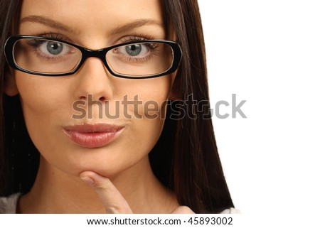 Close up portrait of a beautiful young businesswoman wearing glasses - stock photo