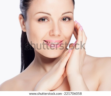 Close-up portrait of a beautiful young woman. Skin care concept. Natural look. Beauty portrait. Spa and health.