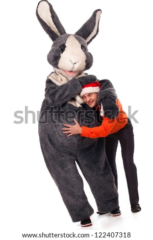 Close-up portrait of a big grey fur's color rabbit has with boy - stock photo