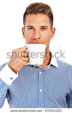 Close up portrait of a businesswoman drinking coffee - stock photo