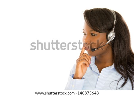 Close-up portrait of a call center employee isolated on white background - stock photo