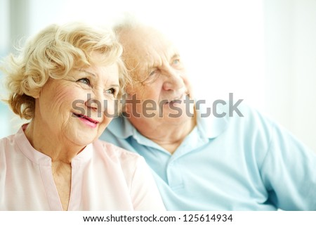 Close-up portrait of a charming elderly woman with her husband on background - stock photo
