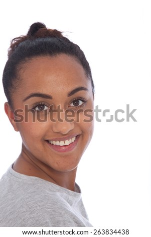 Close up Portrait of a Charming Young Indian Girl Looking at Camera, Isolated on White Background. - stock photo