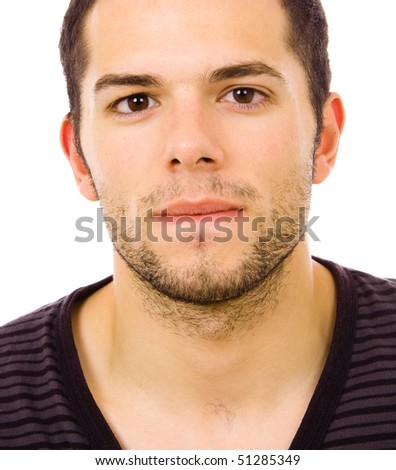 close up portrait of a charming young man, isolated on white