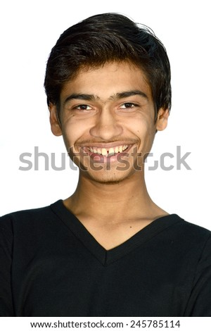 Close-up portrait of a cheerful young man isolated on white. - stock photo