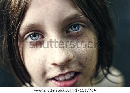 Close up portrait of a child - stock photo