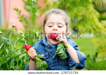 Close up portrait of a child eating in the garden radishes - stock photo