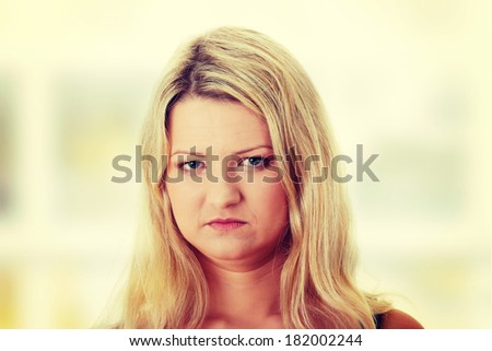 Close-up, portrait of a corpulent woman - stock photo