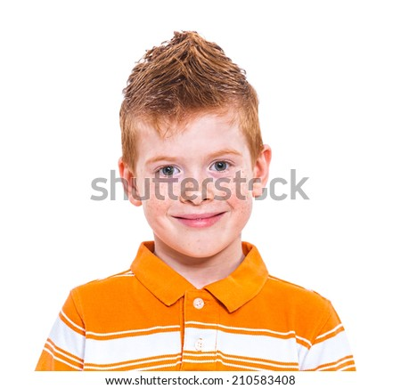Close up portrait of a cute red-haired boy against white background - stock photo