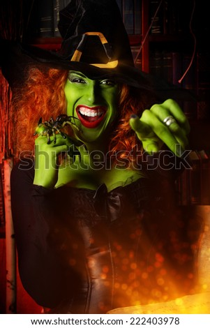 Close-up portrait of a fairy wicked witch in the wizarding lair. Magic. Halloween. - stock photo