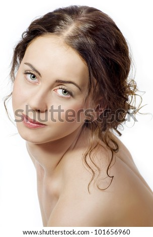Close up portrait of a female model with curly hair. Isolated on white - stock photo