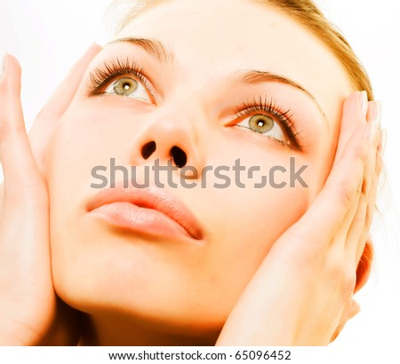 Close-up portrait of a fresh and beautiful young fashion model - stock photo