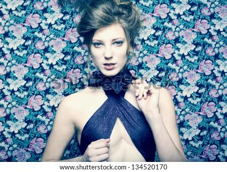 Close-up portrait of a fresh beautiful fashion girl. Retro style - stock photo
