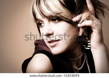 Close-up portrait of a fresh beautiful fashion mod - stock photo