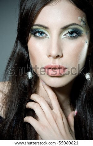 Close-up portrait of a gorgeous woman - stock photo