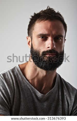 Close-up portrait of a handsome bearded guy