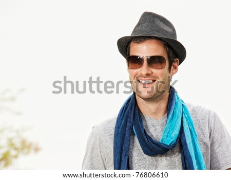 Close-up portrait of a handsome man - stock photo