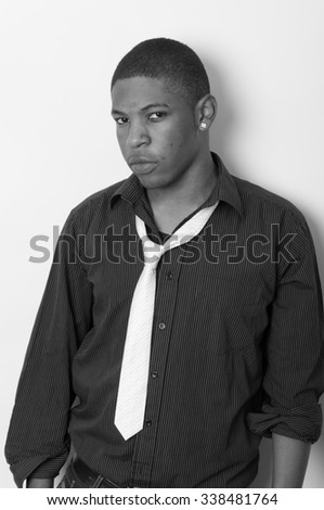 Close up portrait of a handsome young African American. - stock photo