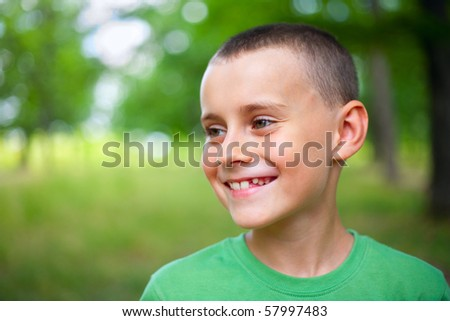 Close up portrait of a happy child outdoor