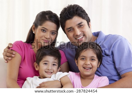 Close-up portrait of a happy family