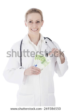 Close up Portrait of a Happy Woman Doctor Holding Cash in Fan and Stethoscope on her Shoulders While Looking at the Camera. Isolated on a White Background. - stock photo