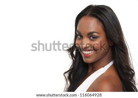 Close up portrait of a happy young woman isolated on white background - stock photo