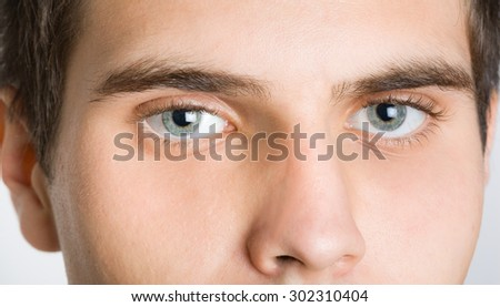 Close-up portrait of a man's face - stock photo