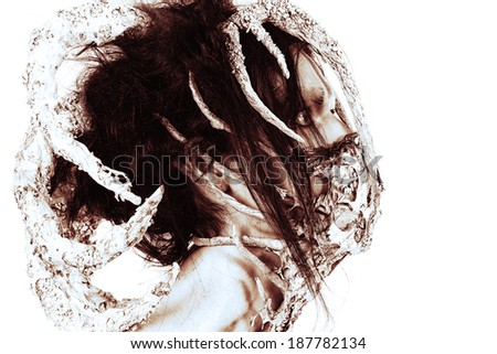 Close-up portrait of a mythical creature male. Alien creature. Horror. Halloween. Isolated over white. Black-and-white. - stock photo