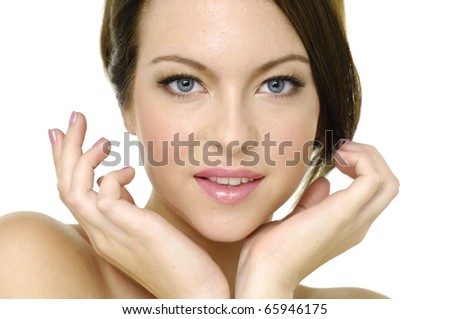Close up portrait of a natural beauty-close up - stock photo