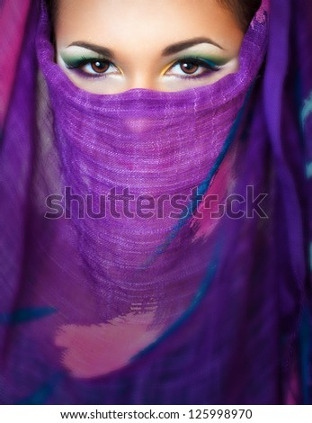 close up portrait of a pretty girl with accessories - stock photo