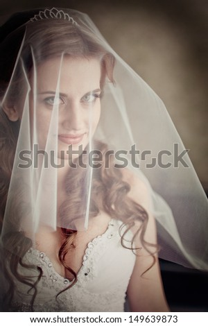 close-up portrait of a pretty shy bride with a veil